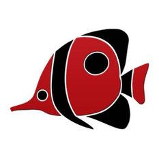 """Tropical Fish Ceramic Swimming Pool Mosaic 12""""x9"""", Red"""
