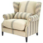 KathyKuoHome - Napoleon French Fog Linen Blue Stripe Wingback Accent Armchair - The relaxed style of Provence is reinterpreted in this half wingback chair. With a lumbar support and generous proportions, the Napoleon invites all to unwind without sacrificing style.