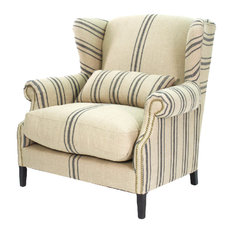 Zentique - Napoleon French Fog Linen Blue Stripe Wingback Arm Chair - Armchairs and Accent Chairs