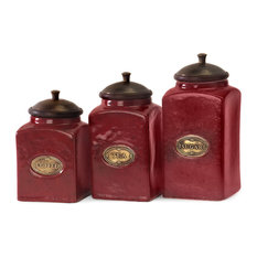 Red Ceramic Canisters, 3-Piece Set