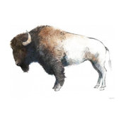 """Colorful Bison Dark Brown"" Paper Art, 30""x24"""