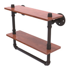 "Pipeline Collection 16"" Double Ironwood Shelf With Towel Bar, Oil Rubbed Bronze"