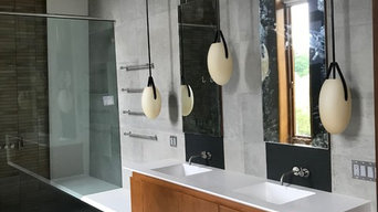 Master Bath in modern seamless corian solid surface