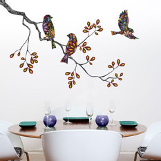 my wonderful walls birds and tree branch wall sticker decal left wall - Designer Wall Stickers