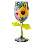 """Enesco - """"Wildflowers"""" Wine Glass - The perfect gift for her, great for any occasion! All Lolita Wine Glasses come packaged in a signature gift box with a unique recipe. Every glass is mouth blown and hand painted. Hand wash only.  15 Oz. capacity"""
