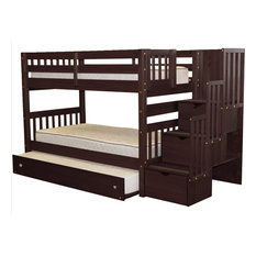 Bedz King Bunk Beds Twin over Twin Stairway, 3 Drawers & Twin Trundle Cappuccino