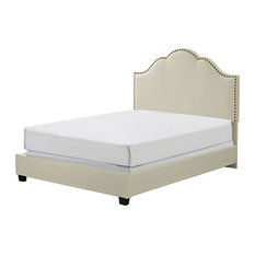 "Crosley - Camelback Upholstered Bed, Creme Linen, Queen, 83""x64""x58"" - Panel Beds"