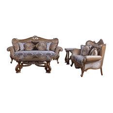 European Furniture - Augustus 2 Piece Luxury Sofa Set In Light Gold & Antique Si
