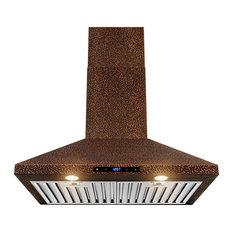 "AKDY 30"" Wall Mount Range Hood Embossed Copper Touch Control Fan for Kitchen"