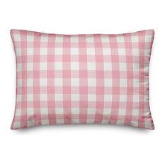 "Pink Buffalo Check Outdoor Lumbar Throw Pillow, 14""x20"""