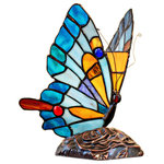 """River of Goods - 9"""" Tiffany Stained Glass Flying Butterfly Accent Lamp - Let this little beauty """"fly"""" into your home! At 9""""H, this accent lamp is the perfect addition to any home d�cor. Composed of 68 glass pieces including 7 cabochons in vibrant colors of blue, white, yellow, and orange, this lamp will light up any room."""