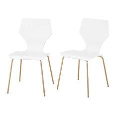MOD   Ella Mid Century Modern Bentwood Dining Chairs, White, Set Of 2