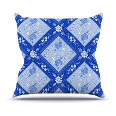 """Anneline Sophia """"Diamonds Blue"""" Aqua White Outdoor Throw Pillow"""