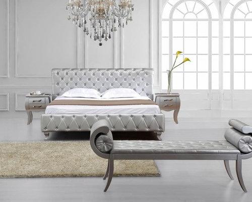 Elegant Leather Modern Design Bed Set - Beds.