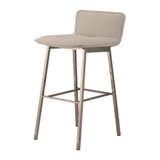 Sabrina Stool Seat: Matte White Frame: Polished Silver Counter Height