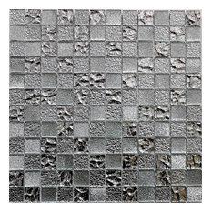 "12.5""x12.5"" Vetro Frizzante Sparkling Silver Mirror Mosaic Tile Glass Backsplash"
