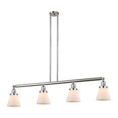 Small Cone 4-Light Island Light, Brushed Satin Nickel, Glass: White Cased