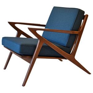Zach Mid Century Modern Walnut Lounge Chair Midcentury