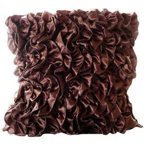 Vintage Style Ruffles 35x35 Satin Dark Brown Cushion Covers, Vintage Browns