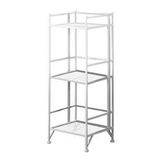 Convenience Concepts Extra Storage 3-Tier Folding Metal Shelf, White