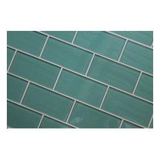 "Teal Green Glass Subway Tile, 3""x6"" Tiles, Set of 8"