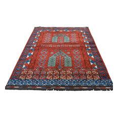 "Afghan Ersari Hutchlu Design Pure Wool Hand-Knotted Oriental Rug, 5'2"" x 6'7"""