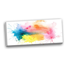 """Abstract Blots Aquarelle Art"" Abstract Canvas Print, 40""x20"""