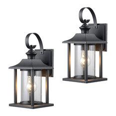 Designers Impressions   Textured Black Outdoor Patio Exterior Light Fixture,  Set Of 2, 23