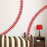 WALLTAT - Baseball Stiches, Fire Engine Red - Baseball Stitches Wall Decals include two curved stitches that can be positioned as desired.  For extra tall ceilings or wide wall positioning, order quantities of 2 or more and connect stitches together!  This sporty wall decal is great for kids bedrooms, sporting goods stores, play rooms, man caves or any room for the baseball enthusiast! Available on Houzz in Fire Engine Red. Comes with two 7 in w x 96 in h opposite facing stitches. Transform your walls into interesting landscapes in just minutes with WALLTAT Wall Decals. Made in the U.S.A.