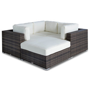 Outdoor Wicker Sofa Sectional 4 Piece Resin Couch Set Tropical
