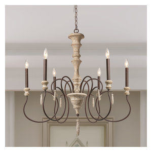 6-Light Shabby Chic French Country Wooden Rustic Chandeliers Pendant Lights