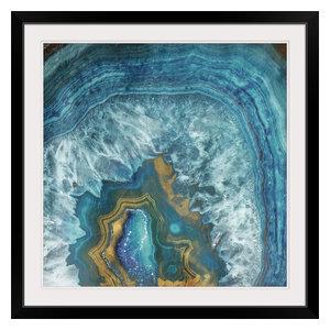 """Gold Blue Flow"" Black Framed Art Print, 38""x38""x1"""