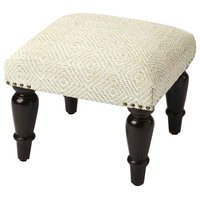 Offex Solid Wood Ivory Upholstered Stool, Black Finish