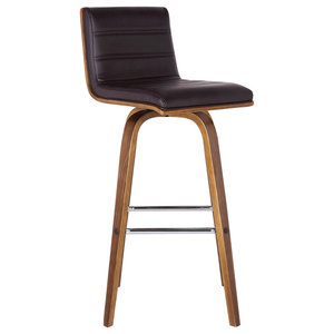 Vienna Contemporary Swivel Bar Stool, Bar Height, Brown
