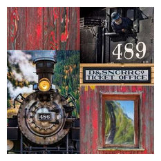 Historic Train Collage IV by Kathy Mahan Canvas Print