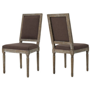 GDF Studio Margaret Traditional Fabric Dining Chairs, Dark Brown, Set of 2
