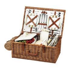Dorset Picnic Basket For Four With Blanket, Wicker W and Santa Cruz