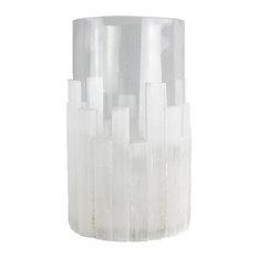 "Sagebrook Home White Selenite Candle Holder 11.5"" Tealight"