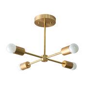 Gold 4-Spoke Sputnik Modern Ceiling Light