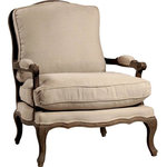 Dovetail Furniture - Dovetail Dominique Gray Wash Bergere Chair - Product Details: