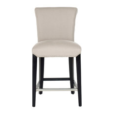 Safavieh Seth Counter Stool, Taupe/Black Fabric/With Nail Head
