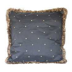 Silk Black And Gold Embroidered Pillow With Fringe, 22x22