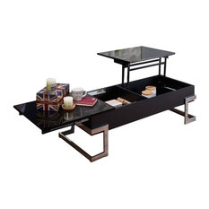 Bowery Hill Lift Top Coffee Table, Black and Chrome