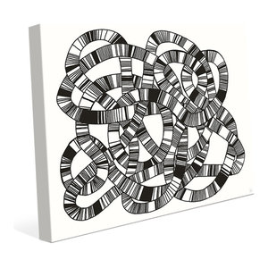 Crosshatch Black On White Abstract Wall Art Print