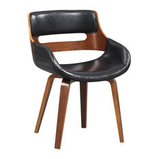 """Wood and Black Faux Leather Mid-Century 18"""" Dining Chair"""