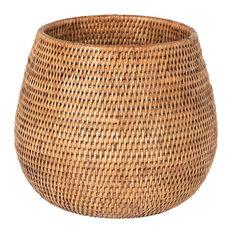 La Jolla Coco Rattan Planter and Bowl, Honey Brown, Large