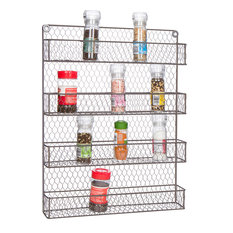 4-Tier Wire Spice Rack Storage Organizer - Wall Mount or Countertop