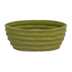 Glazed Lime Green Contemporary Long Oval Pot With Wave Design