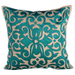 Velvet Applique 45x45 Velvet Pearl Beige Cushion Covers, Loyal To Peacock Green