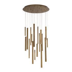 Santana Clustered Tubes 18 LED Chandelier in Antique Brass Finish